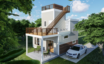 Unique 600 SQFT 2 Story Tiny Home with Roof Deck